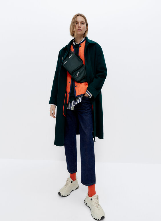 0.0 Studio oversize coat with crafted stitching
