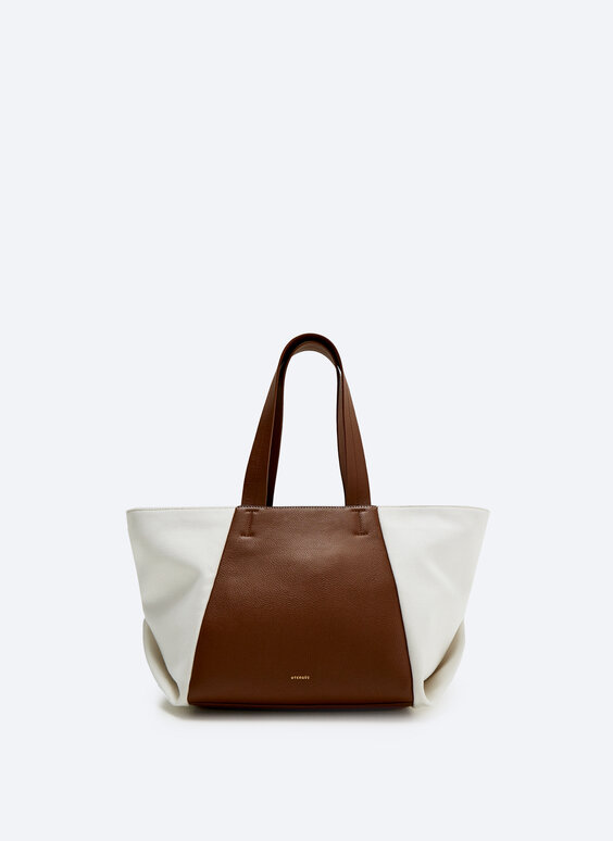 Tote bag with contrast canvas and leather
