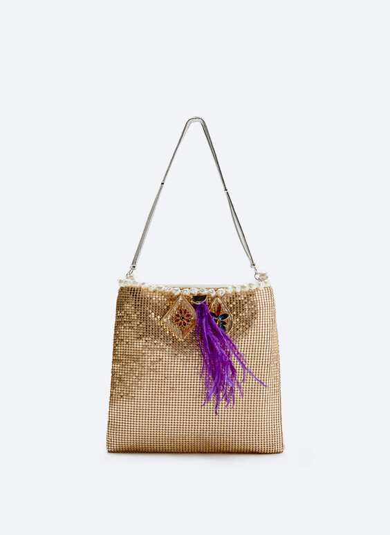 Feather mesh evening bag