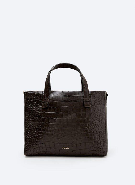 Leather bag with a mock croc finish