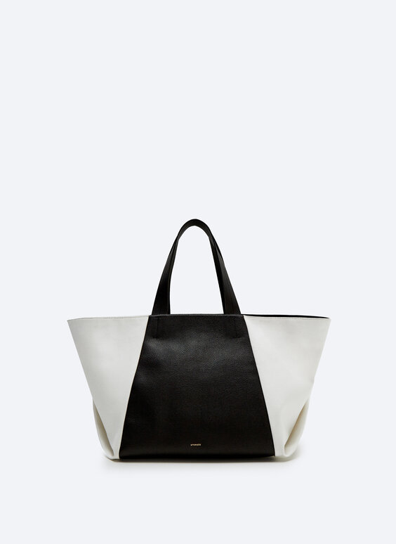 Big tote bag with contrast canvas and leather