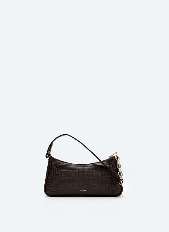 Mock croc leather bag with chain