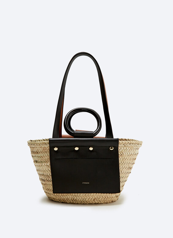 Raffia tote bag with small leather pocket