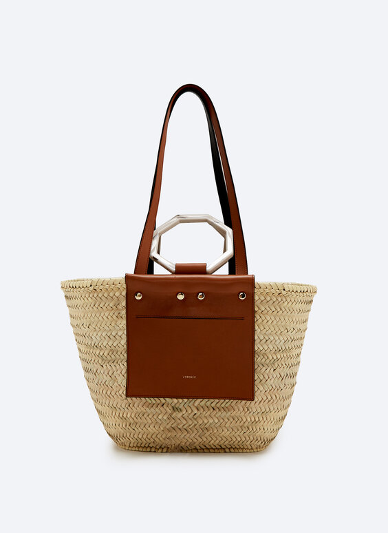 Raffia tote bag with leather pocket