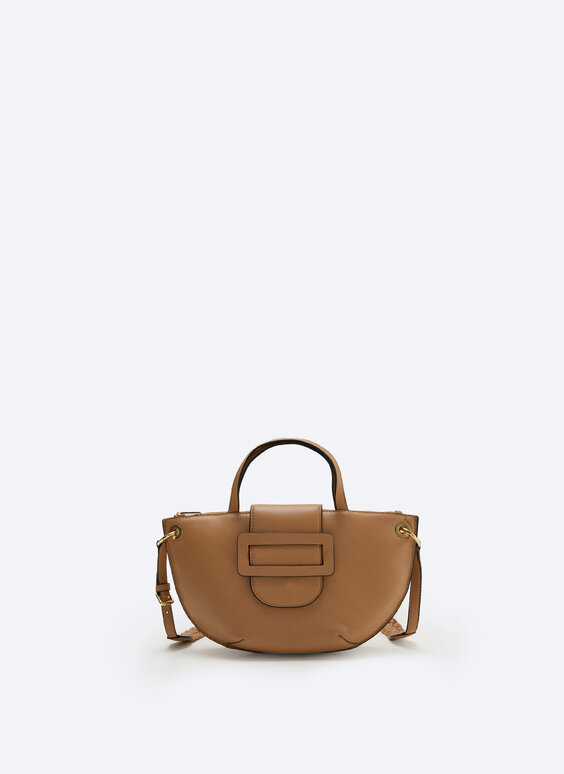 Leather belt bag with flap