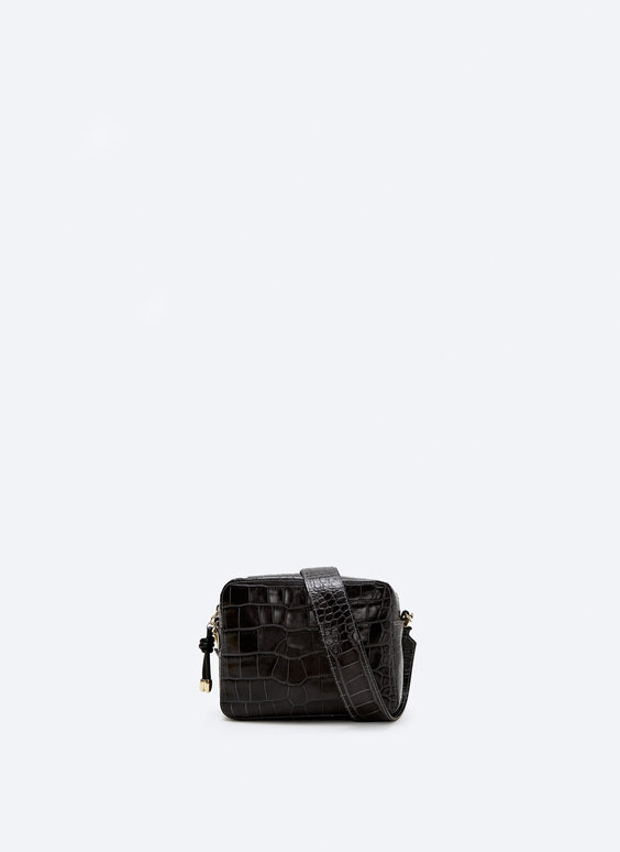 Leather crossbody bag with a mock croc finish