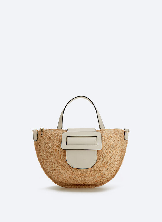 Raffia bag with leather buckle