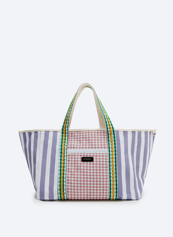 Large tote bag in multicoloured print