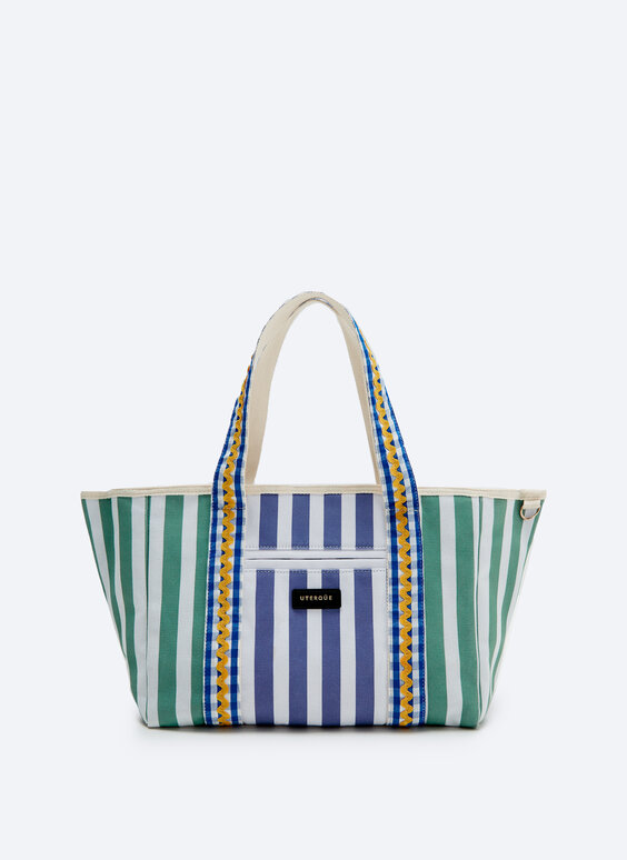 Medium tote bag with multicoloured stripes