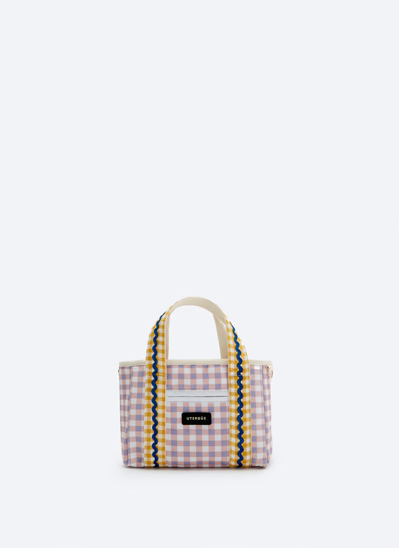 Mini tote bag in multicoloured gingham