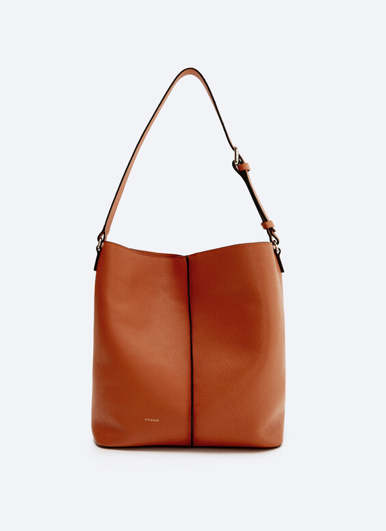 Leather bucket bag with seam