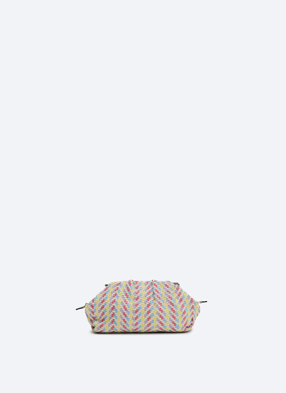 Multicoloured woven gathered bag
