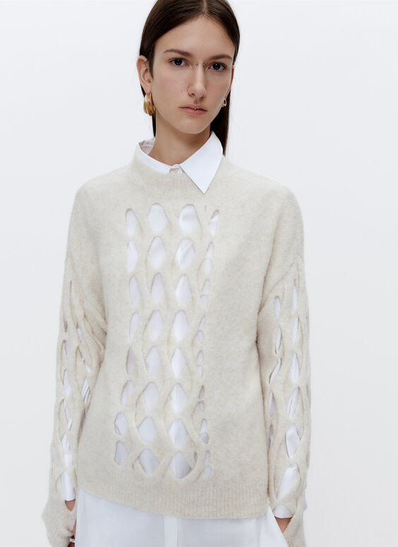 Sweater with open knit design at the centre