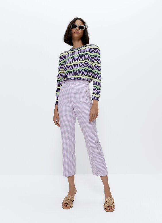 Sweater with irregular colourful stripes