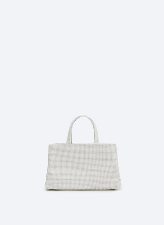 Medium woven leather tote bag