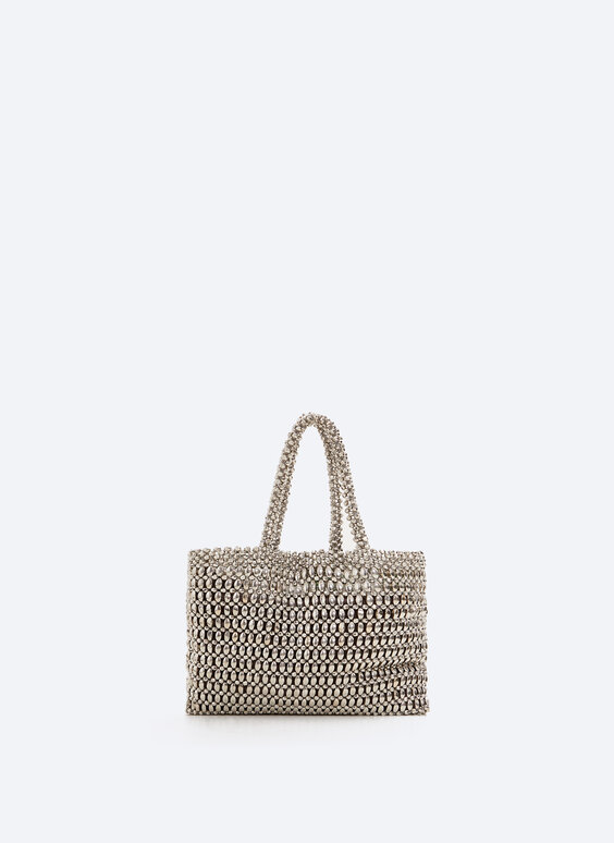 Metallic beaded handbag