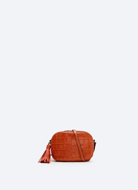 Oval leather crossbody bag