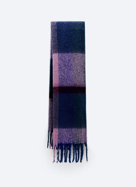 Check lilac scarf