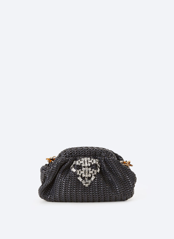 Woven crystal clasp bag