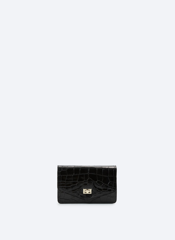 Leather compact crossbody bag with a mock croc finish
