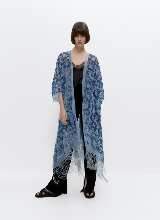 Devoré poncho with fringing