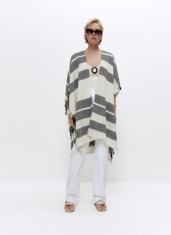 Striped beach poncho