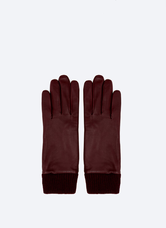 Leather gloves with knit cuffs