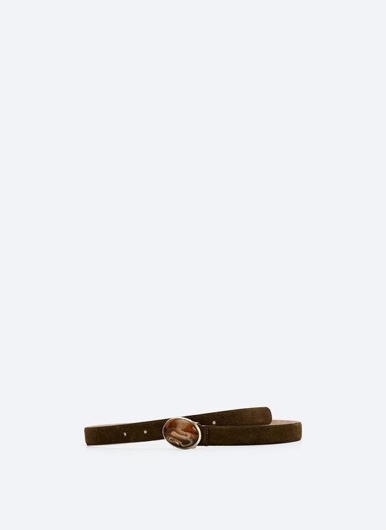 Split suede belt with stone-effect buckle