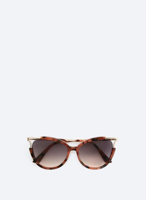 Contrast metal angled sunglasses