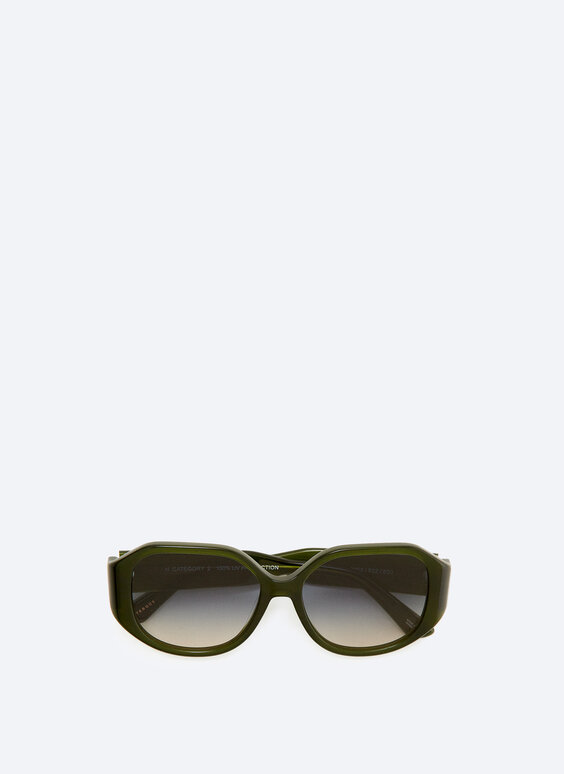 Hexagonal green sunglasses