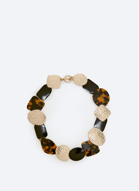 Tortoiseshell and metal choker necklace