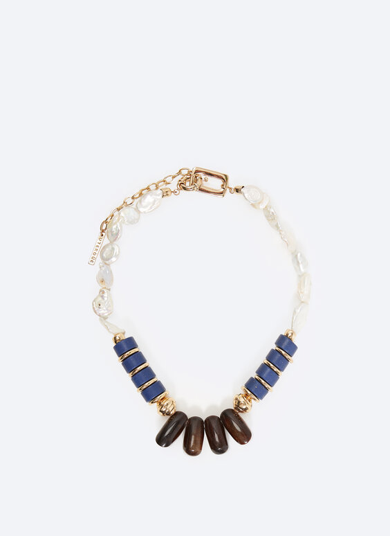 Faux pearl and sodalite stone necklace