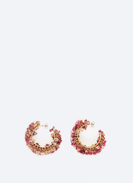 Hoop earrings with rhinestones