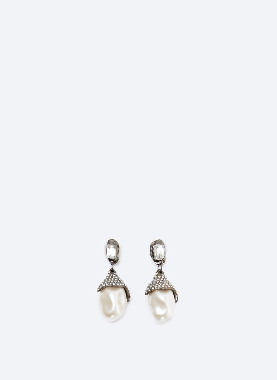 Earrings with faux pearl effect