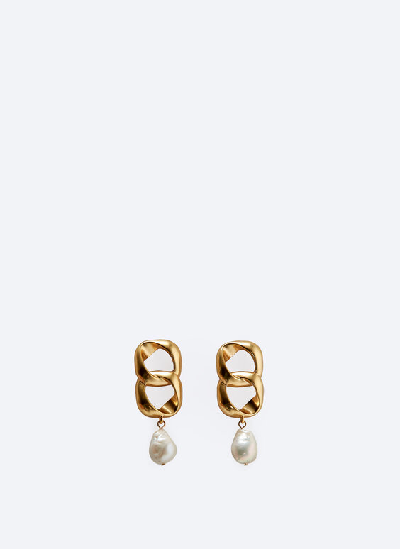 Double link and faux pearl earrings