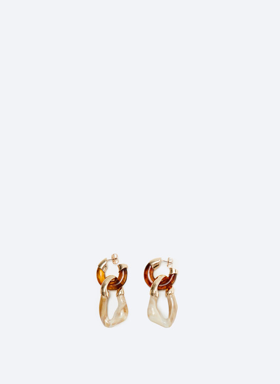 Tortoiseshell chain link hoop earrings