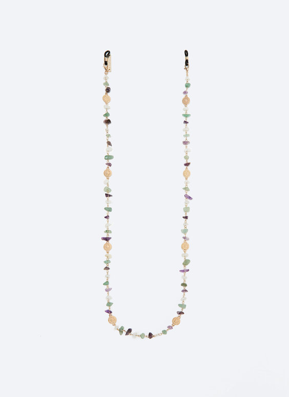 Glasses strap with colourful stones