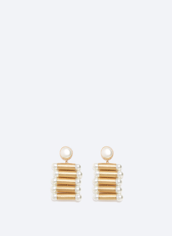 Tube earrings with faux pearl