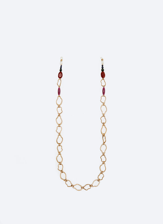 Glasses strap with chain link and natural stones