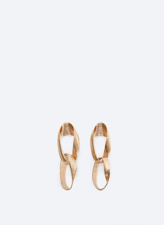 Long matte link earrings