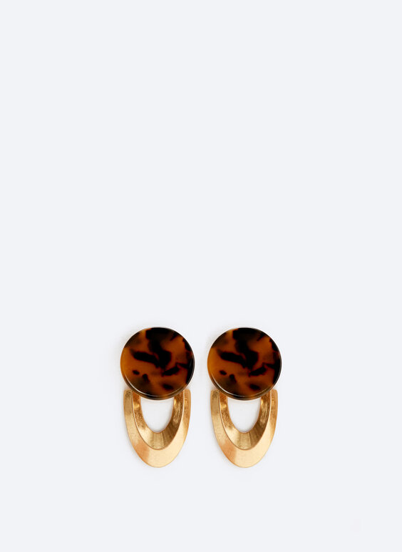 Metal and tortoiseshell earrings
