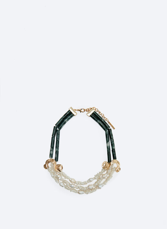Contrast double necklace