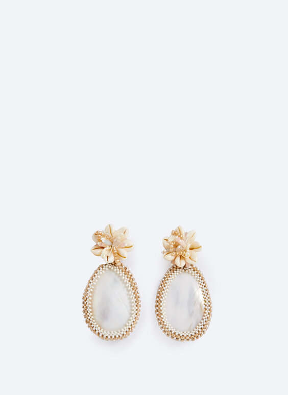 Mother-of-pearl and seashell earrings