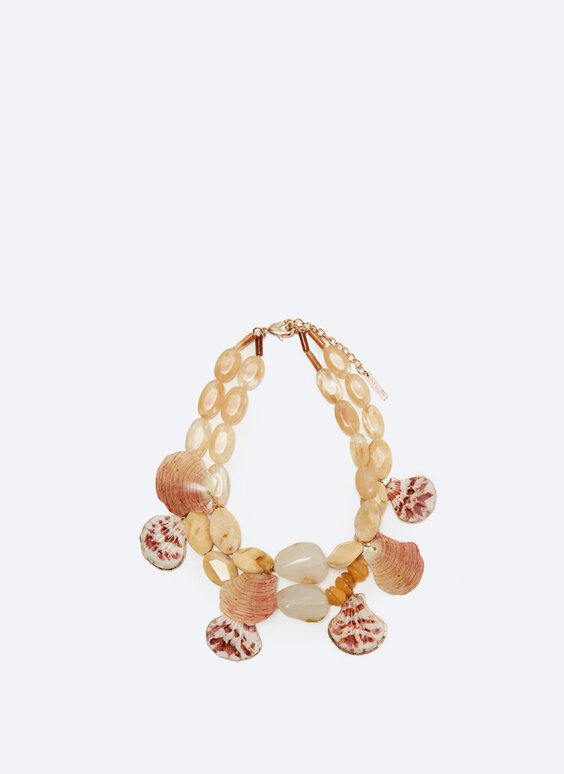 Honey seashell multi-strand necklace