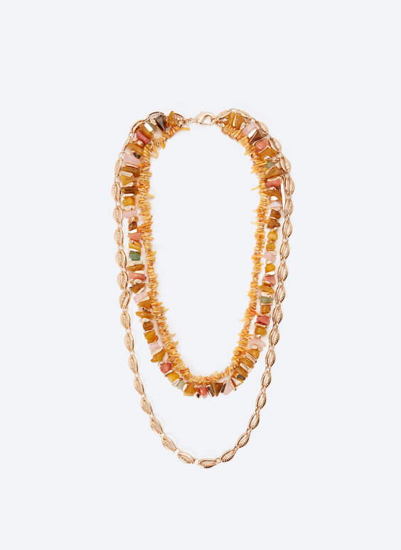 Multi-strand necklace with assorted stones