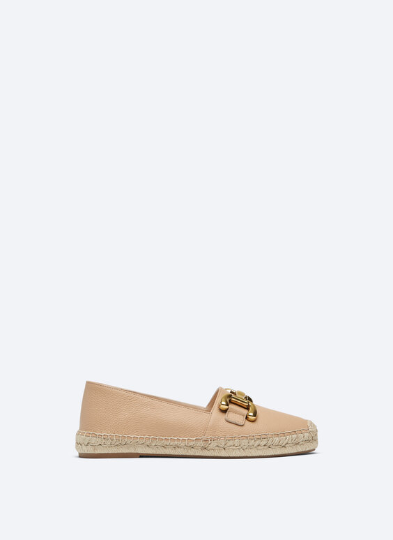 LEATHER ESPADRILLES WITH DECORATION