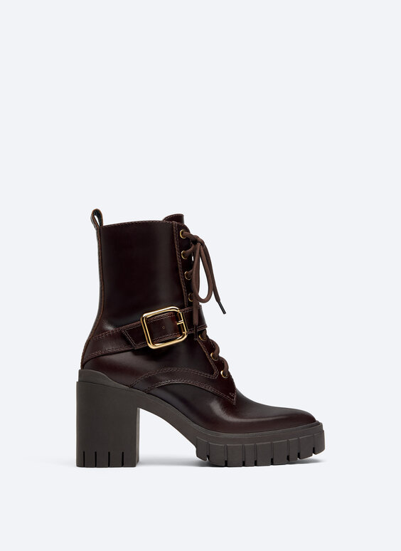 Leather platform ankle boots with buckle