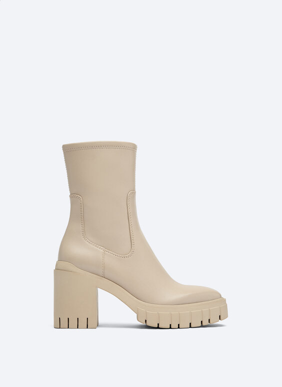 Leather track-sole ankle boots