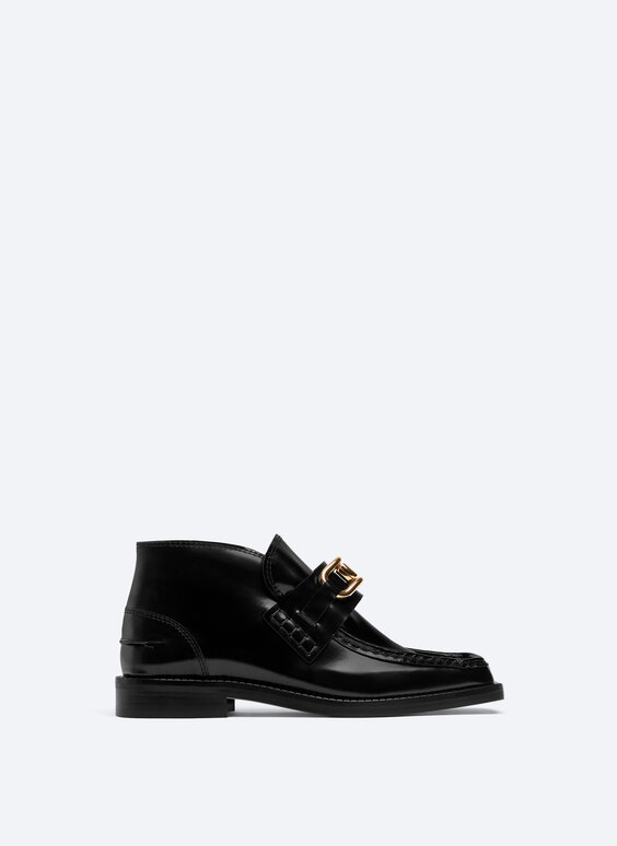 Leather boot-style loafers