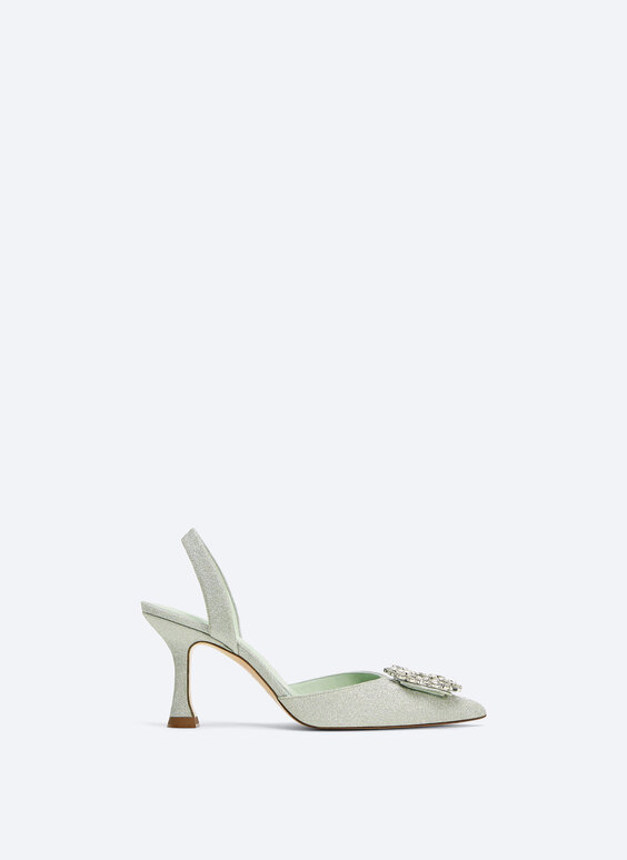 Satin d'Orsay shoes with rhinestones